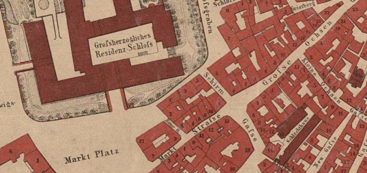 Ausschnitt eines Plans der Haupt- und Residenzstadt Darmstadt, 1866