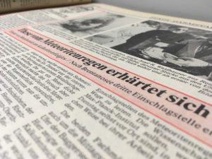 """""""These vom Meteoritenregen erhärtet sich"""", Darmstädter Tagblatt vom 17.02.1986"""