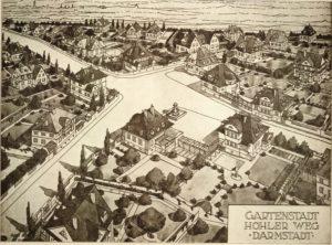 Perspektivische Entwurfszeichnung der Gartenstadt Hohler Weg von August Buxbaum, StadtA DA Best. 53 Nr. 1486