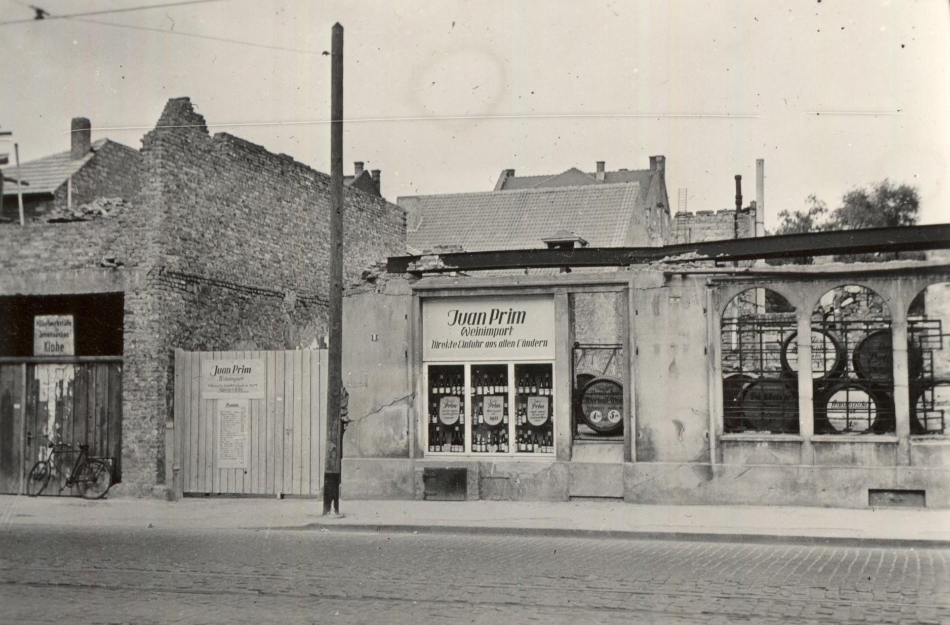 Weinhandlung Juan Prim am Mathildenplatz, Anfang 1950er Jahre, StadtA DA Best. 53