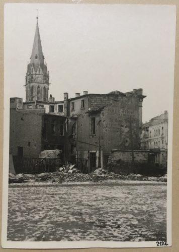Blick auf die Johanneskirche aus der Wilhelm-Leuschner-Straße, 1944, StadtA DA Best. 53