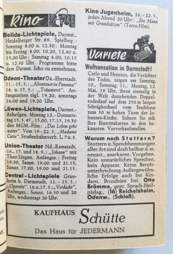 Auszug aus dem Darmstädter Wochenspiegel Nr. 2 von 11.-17.05.1947, StadtA DA Bibl. A 107