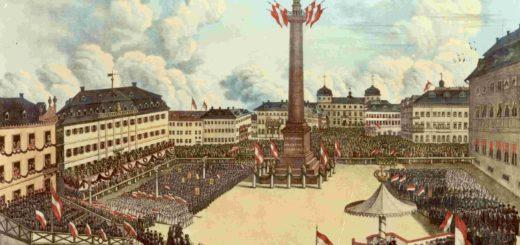 Einweihung des Ludwigsmonuments 1844, Farblithographie, StadtA DA Best. 53 Nr. 390