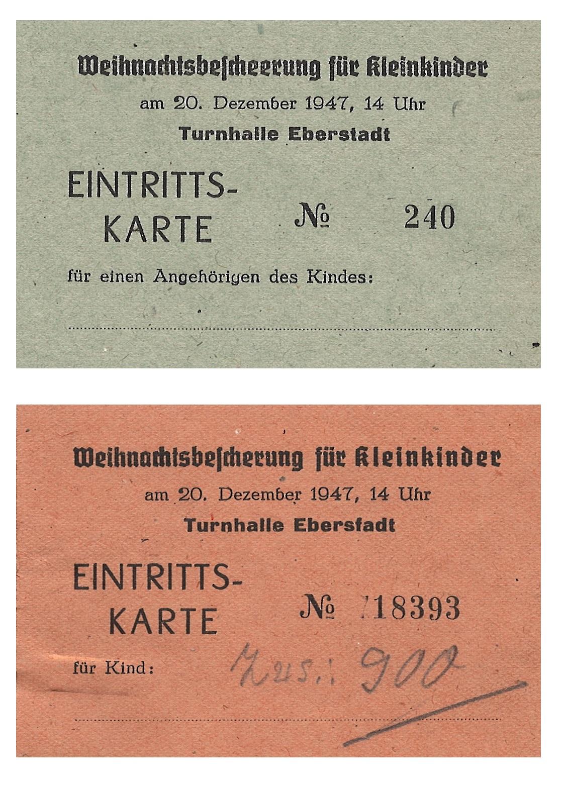 Eintrittskarten für ein Kind und seine Begleitung zur Weihnachtsbescherung für Kleinkinder in der Turnhalle Eberstadt, 1947, StadtA DA Best. 201