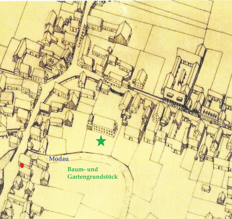 Häuser in der Umgebung des neuen Rathauses (grüner Stern) Mitte des 19. Jahrhunderts, altes Rathaus (roter Punkt)