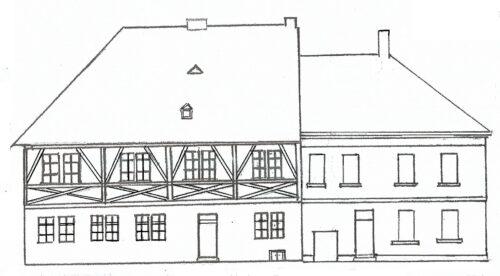 Zeichnung des Rat-und Schulhauses ab 1820, links die ehemalige Kellerei, rechts der Neubau.