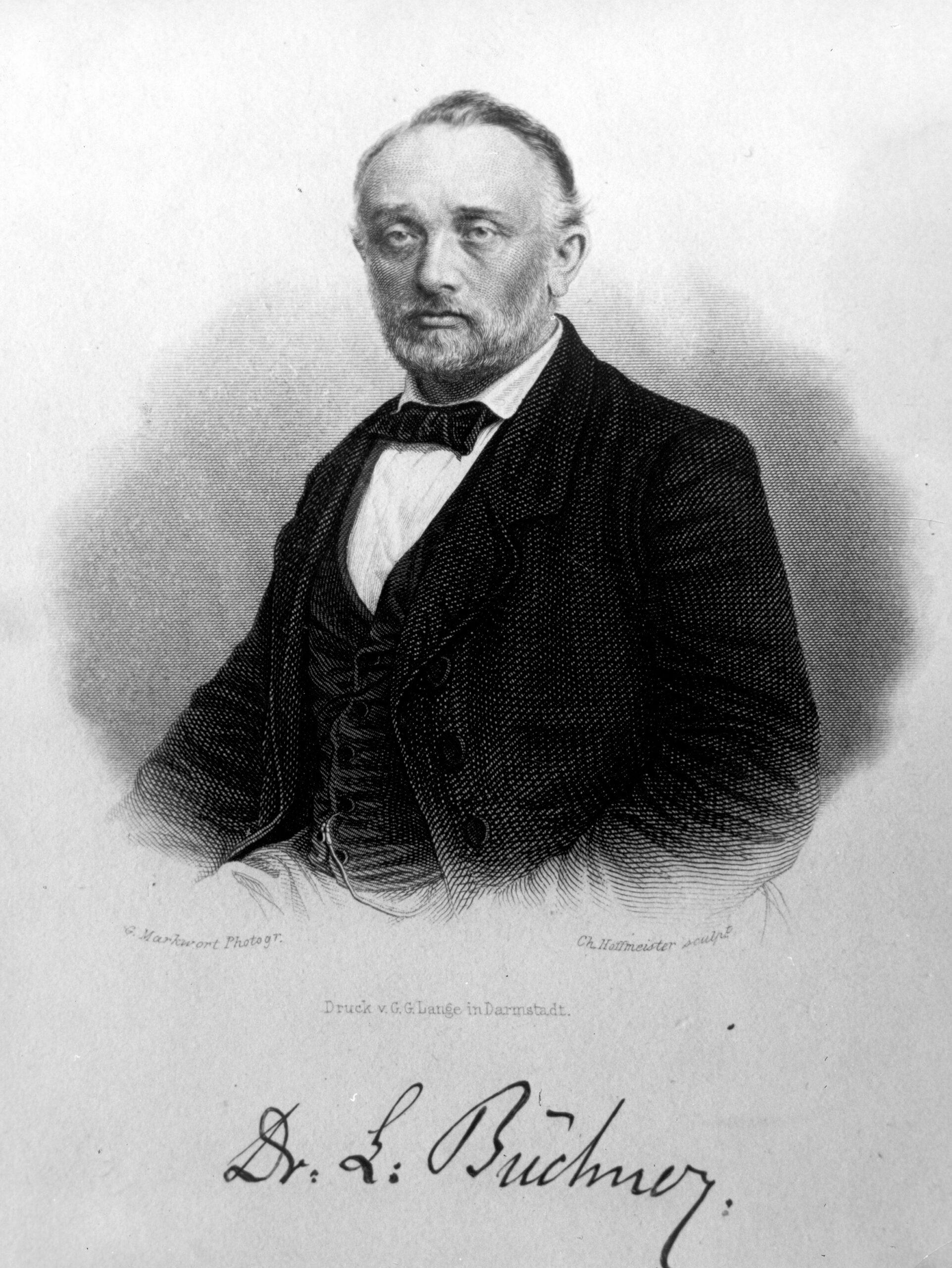 Portrait von Ludwig Büchner, der den Betrachter ansieht, darunter seine Unterschrift