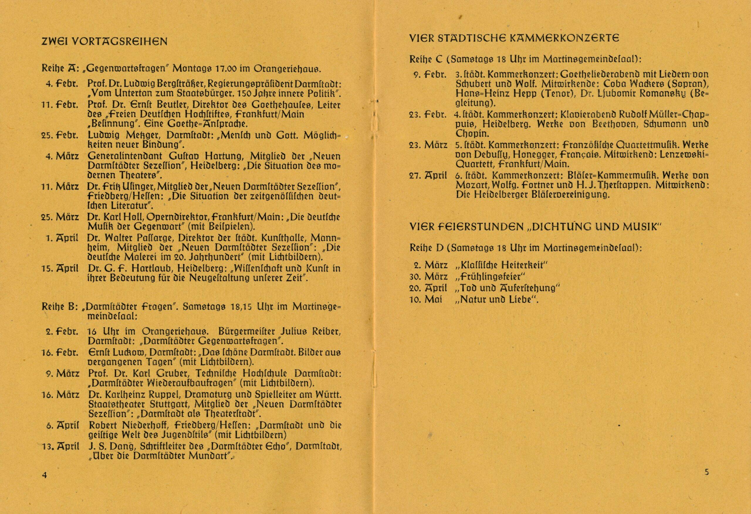 """Liste mit Datumsangaben zu Veranstaltungen der Vortragsreihen zu den Themen """"Gegenwartsfragen"""" und """"Darmstädter Fragen"""", sowie vier Kammerkonzerte und vier Feierstunden """"Dichtung Musik"""""""