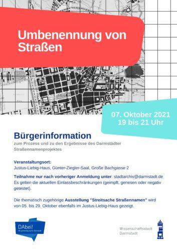 Plakat mit Angaben zur Bürgerinformation am 7. Oktober im Justus-Liebig-Haus